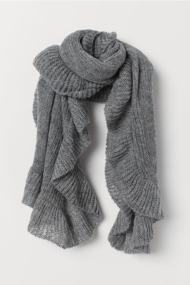 gebreide sjaal met volants - donkergrijs - dames   h&m nl