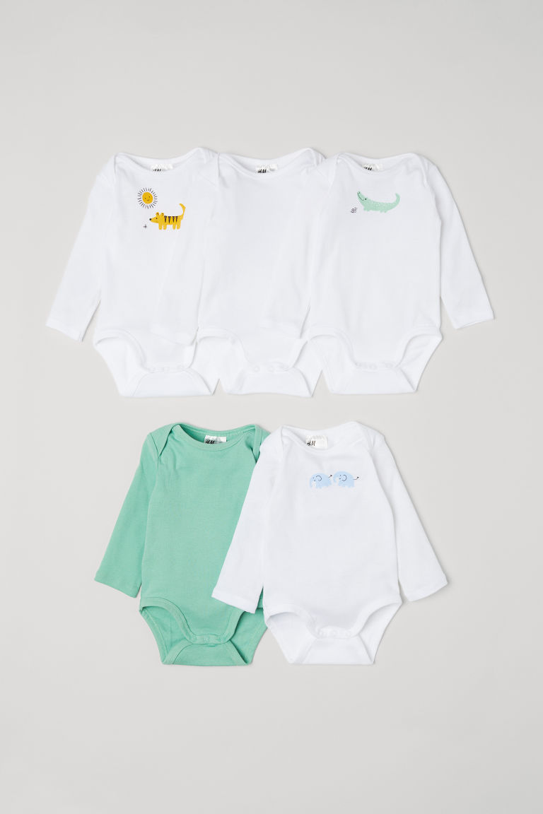 Bodies à motif, lot de 5 - Blanc/animaux -  | H&M FR