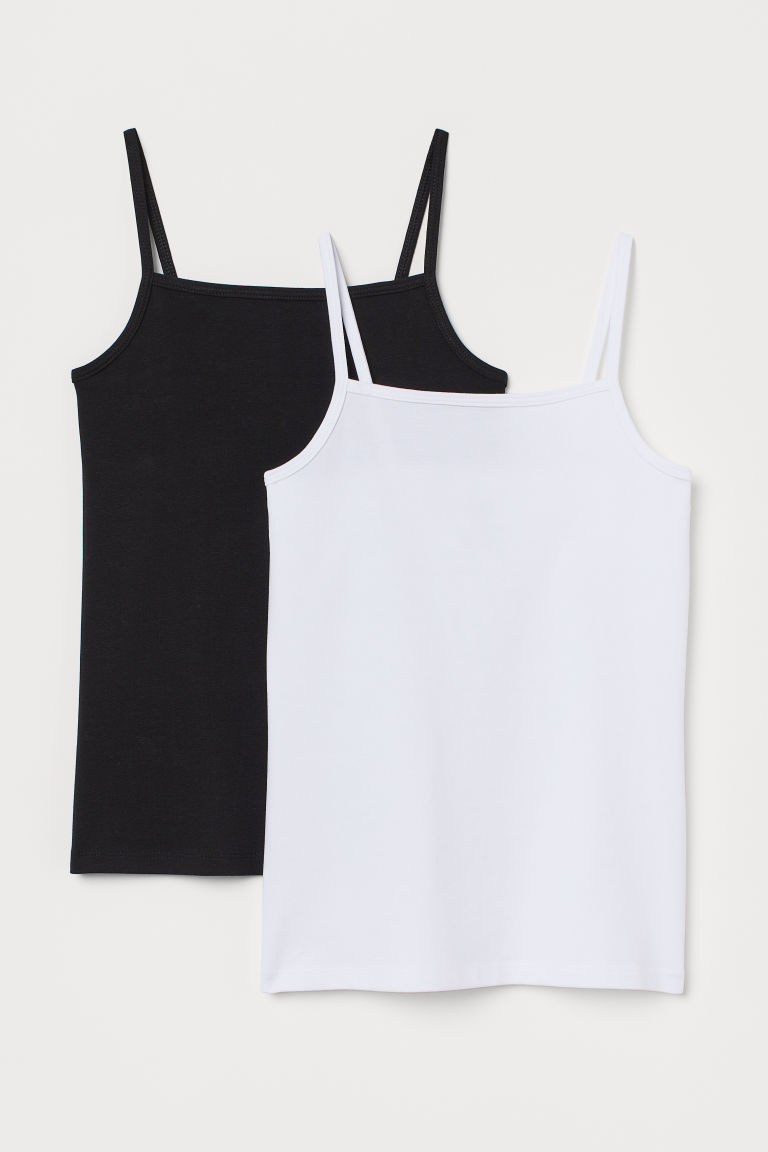 2-pack jersey strappy tops - Black/White - Kids | H&M GB