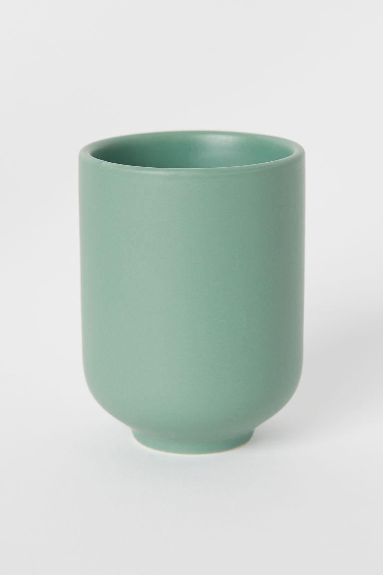 Stoneware toothbrush mug - Dusky green - Home All | H&M CN