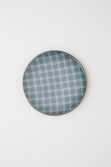 Patterned plate - Dark petrol - Home All | H&M CN