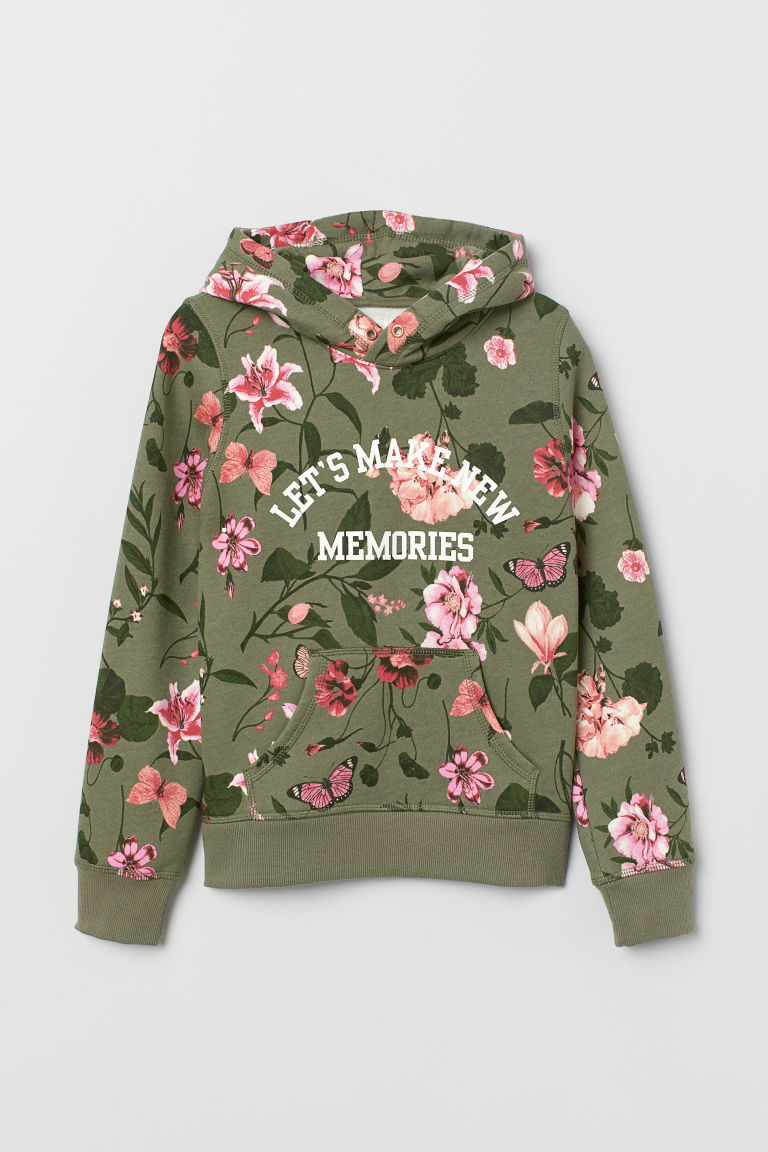 Hooded top with a motif - Khaki green/Floral - Kids | H&M CN