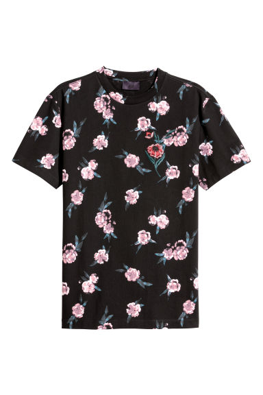 Patterned embroidered T-shirt - Black/Floral -  | H&M