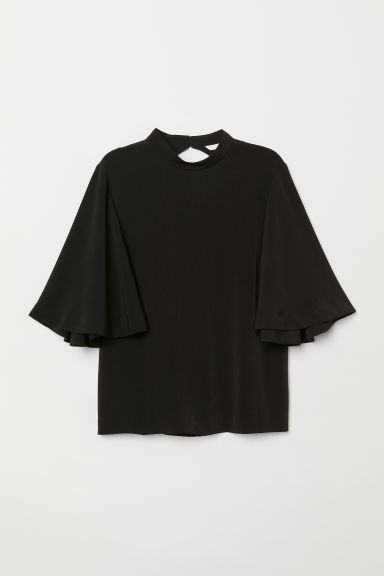 Trumpet-sleeved blouse - Black - Ladies | H&M CN