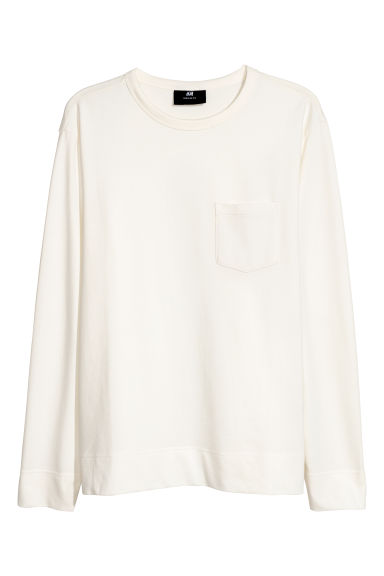 Long-sleeved top - Natural white -  | H&M