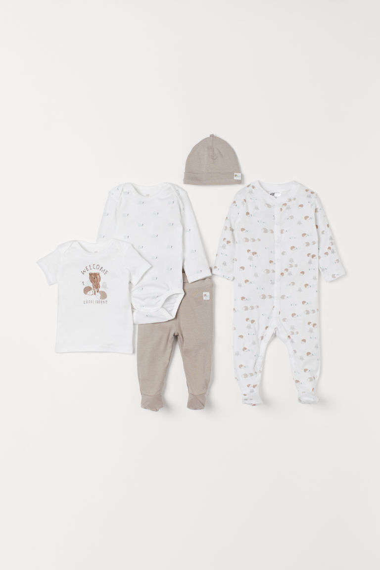 5-piece jersey set - White/Greige - Kids | H&M IN