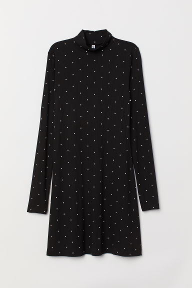 Ribbed jersey dress - Black/Spotted - Ladies | H&M GB