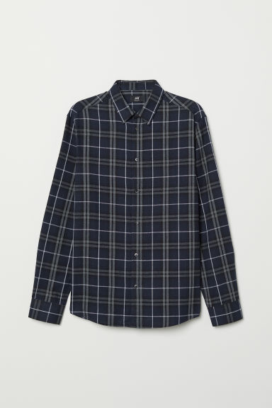 Checked shirt Regular Fit - Dark blue/Checked - Men | H&M