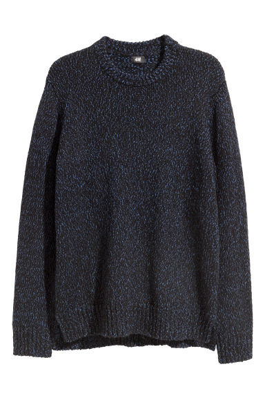 Knitted jumper - Black/Blue marl -  | H&M