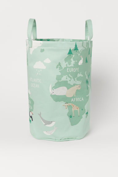 Printed storage basket - Light green/Animals - Home All | H&M IE