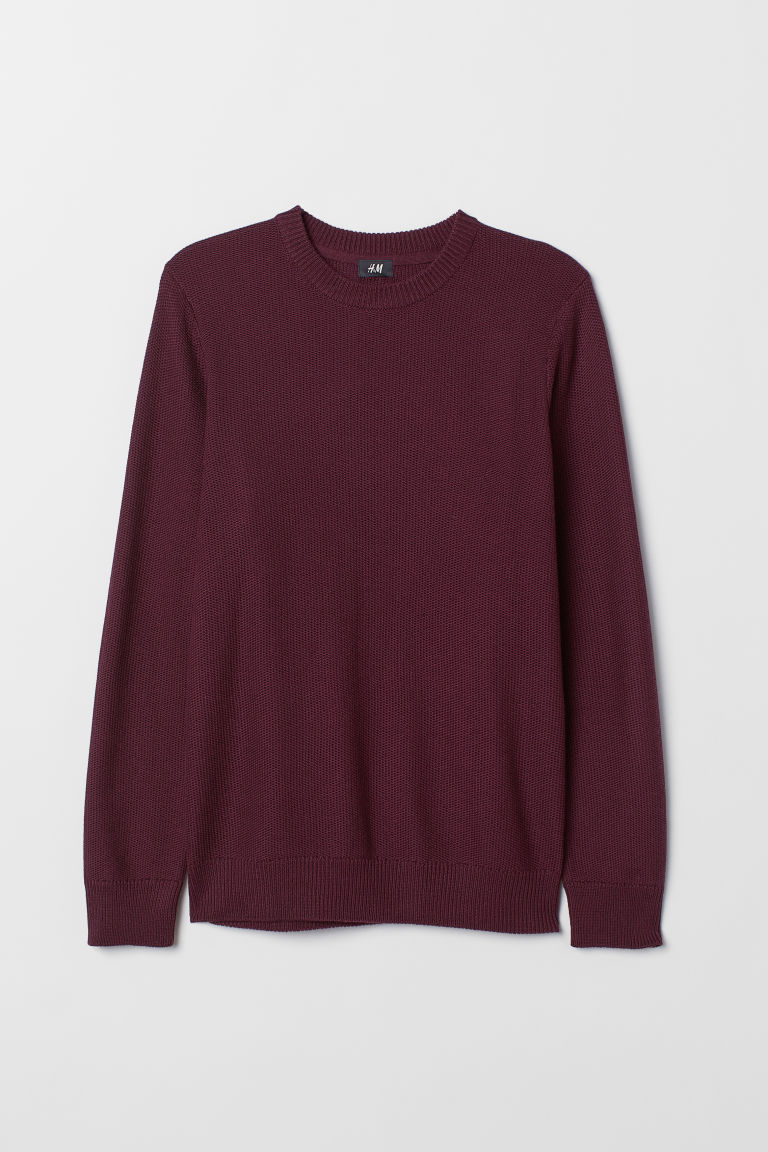 Fine-knit jumper - Dark red - Men | H&M CN