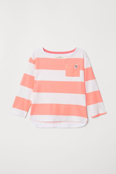 Striped Jersey Top - Neon pink/striped - Kids | H&M CA