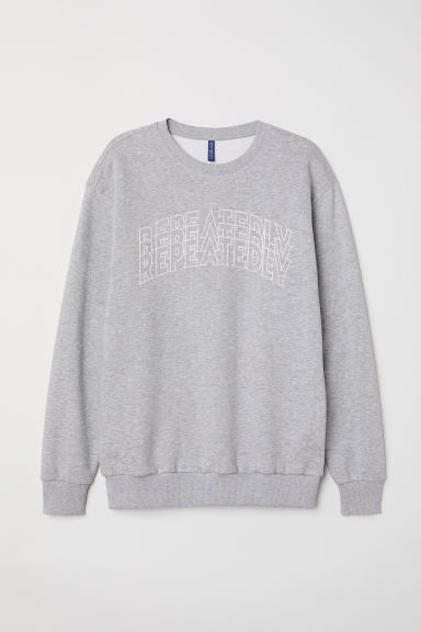 Sweatshirt with a motif - Grey marl/Repeatedly - Men | H&M