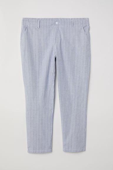 H&M+ Cotton chinos - Light blue/Striped - Ladies | H&M