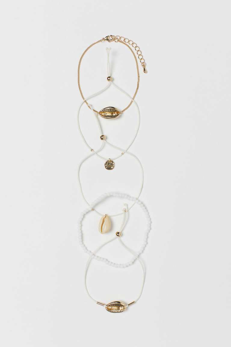 5-pack Bracelets - Gold-colored/white - Ladies | H&M CA