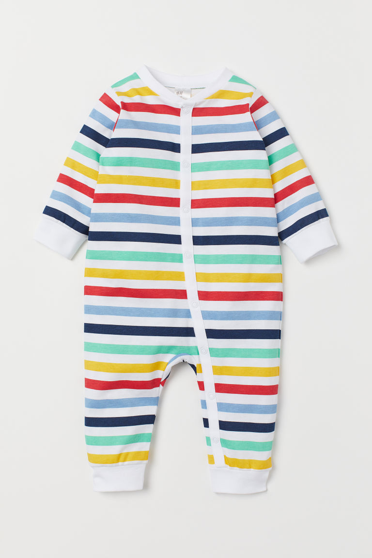 Printed all-in-one pyjamas - White/Multicoloured stripes -  | H&M