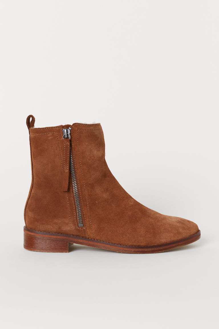Warm-lined suede boots - Brown - Ladies | H&M