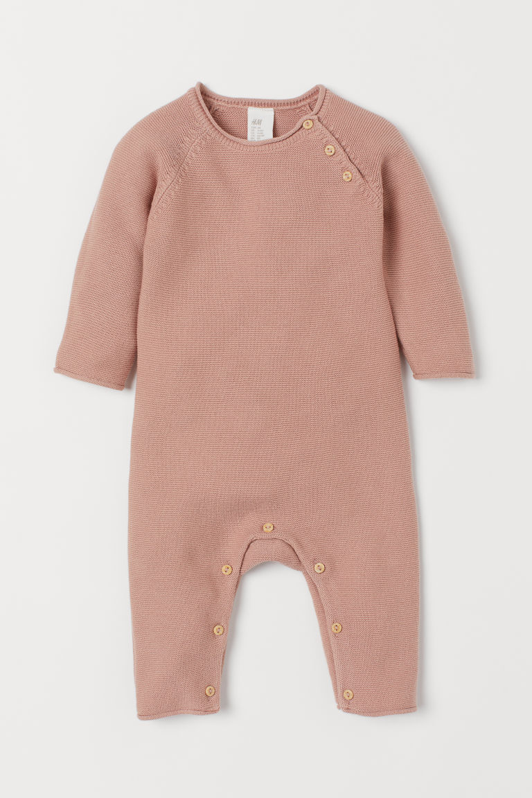 Knit Cotton Overall - Powder pink - Kids | H&M CA