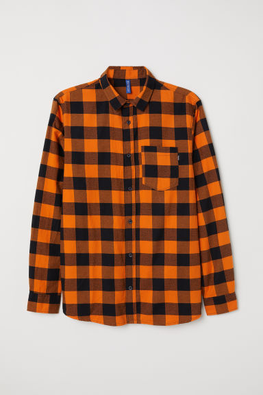 Checked flannel shirt - Orange/Black -  | H&M GB