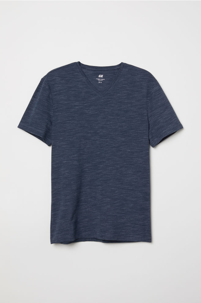 810f2fb75e36 V-ringad t-shirt Slim Fit - Mörk blåmelerad - HERR   H&M SE
