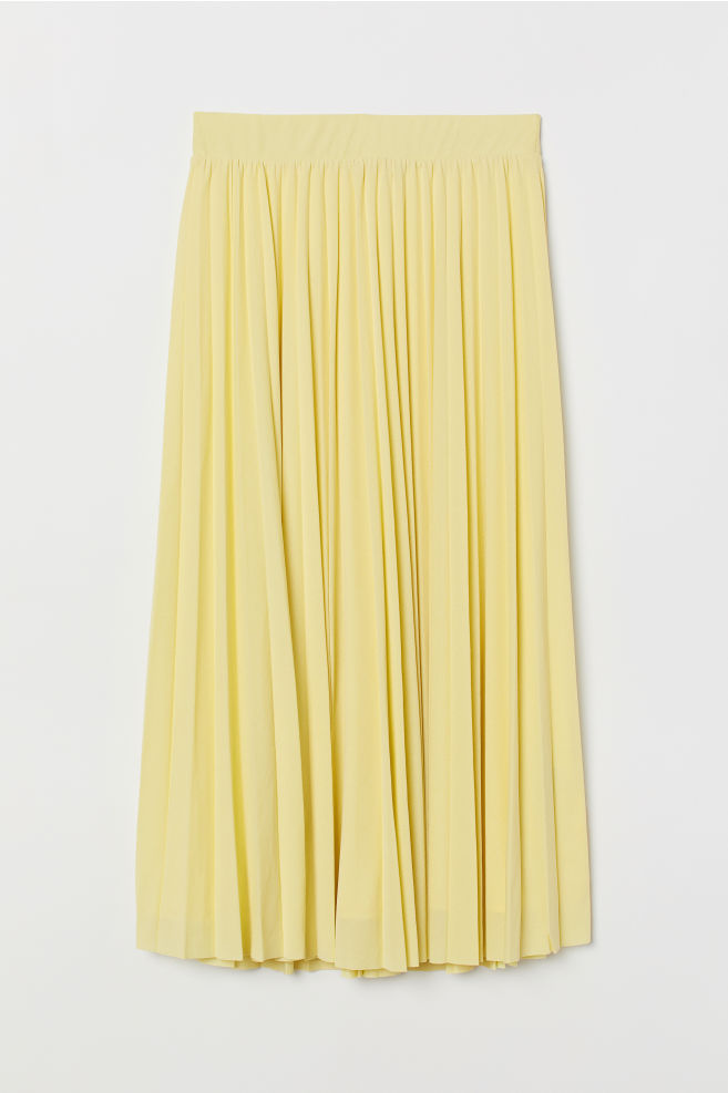 036b2c9130 ... Pleated skirt - Light yellow - Ladies | H&M ...