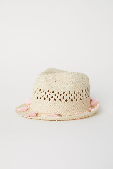 Straw hat - Natural/Pink -  | H&M