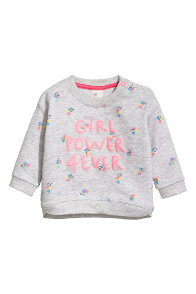 Printed sweatshirt - Light grey/Girl Power - Kids | H&M CN