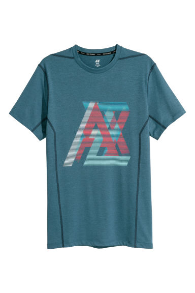 Short-sleeved sports top - Dark blue-grey - Men | H&M