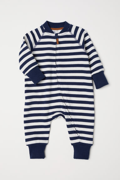 Sweatshirt all-in-one suit - Dark blue/Striped - Kids | H&M CN