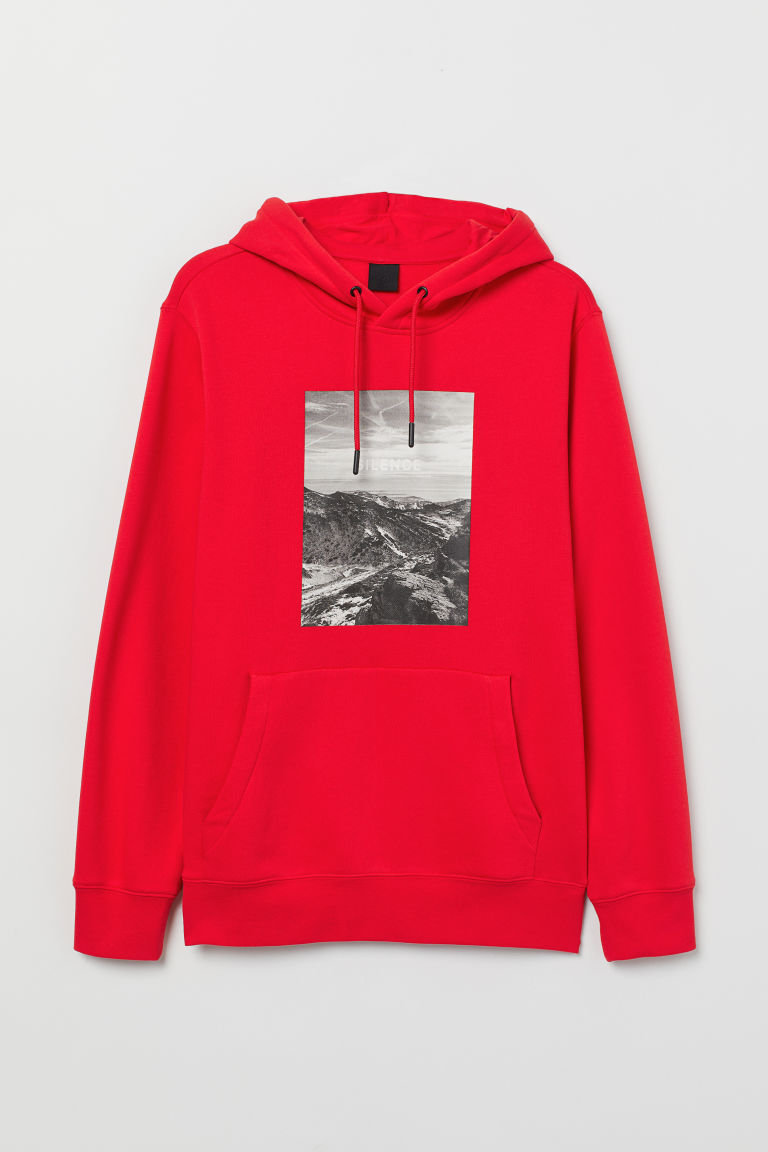 Hooded top with a motif - Red - Men | H&M