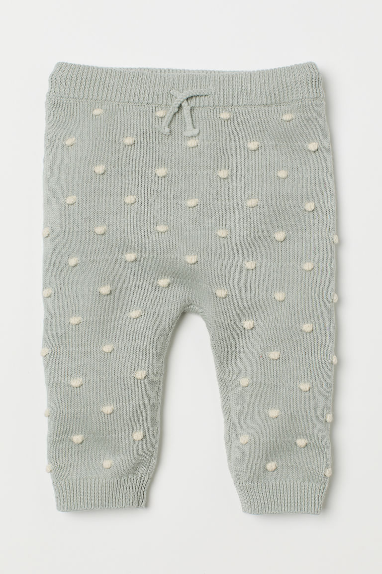 Fine-knit textured trousers - Light mint green/White spotted - Kids | H&M CN