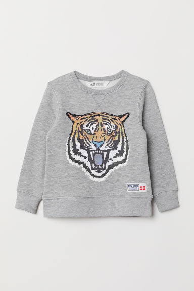 Sweatshirt - Light grey marl/Tiger - Kids | H&M CN