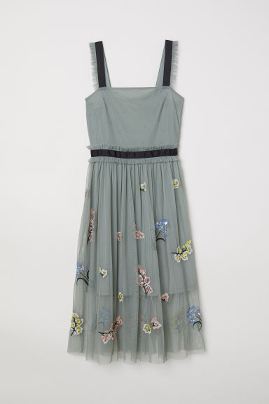 Tulle dress with embroidery - Dark dusky green - Ladies | H&M CN