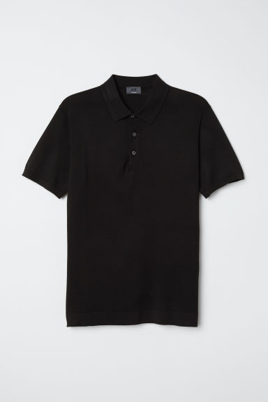 Silk-blend polo shirt - Black - Men | H&M CN