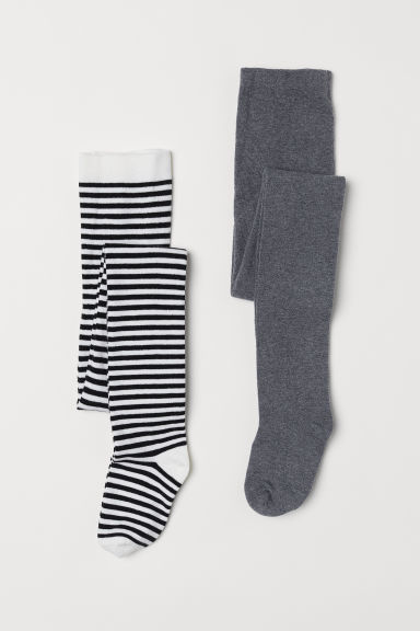 2-pack tights - White/Black striped - Kids | H&M CN