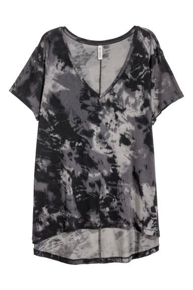 V-neck jersey top - Dark grey/Patterned -  | H&M