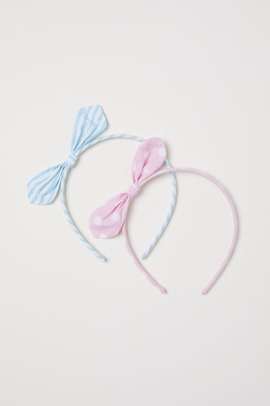 2-pack Alice bands with a bow - Light pink/Light blue - Kids | H&M