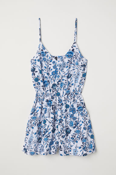 Playsuit - White/Blue floral - Ladies | H&M CN