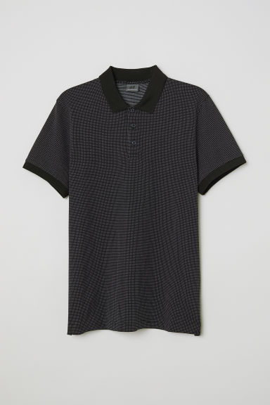 Spotted polo shirt - Dark blue/White spotted - Men | H&M CN