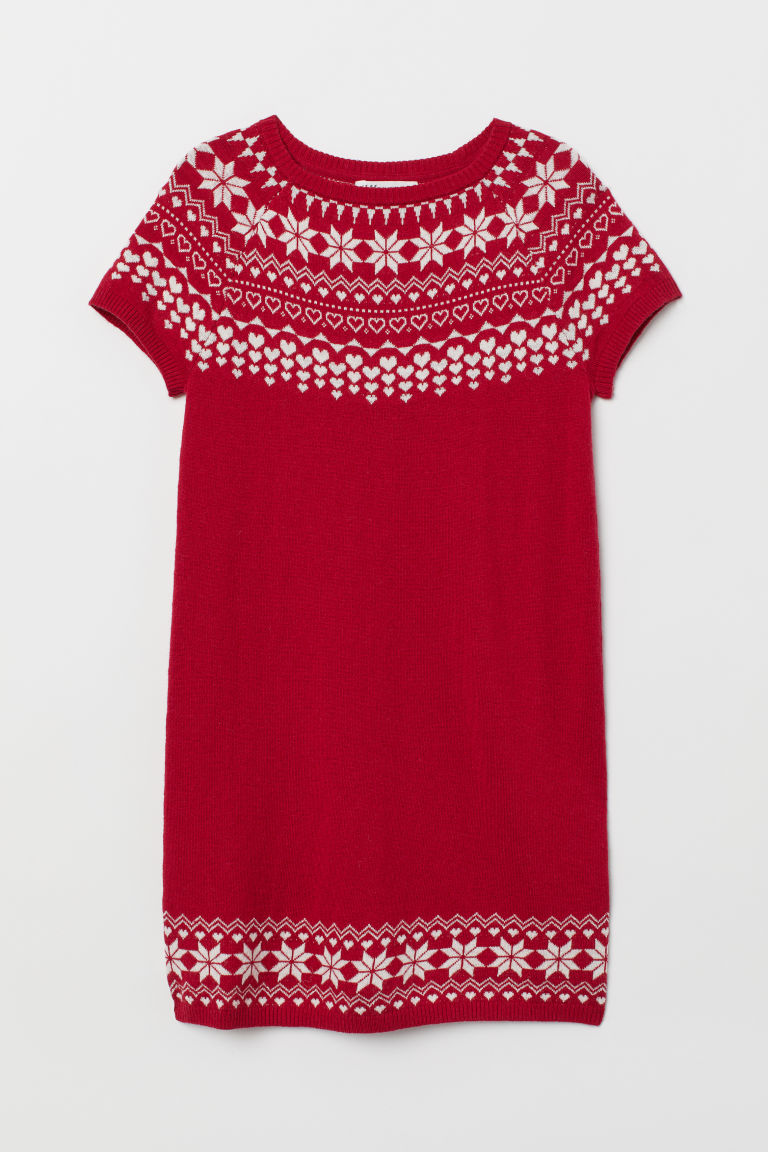 Knitted wool-blend dress - Red/White - Kids | H&M