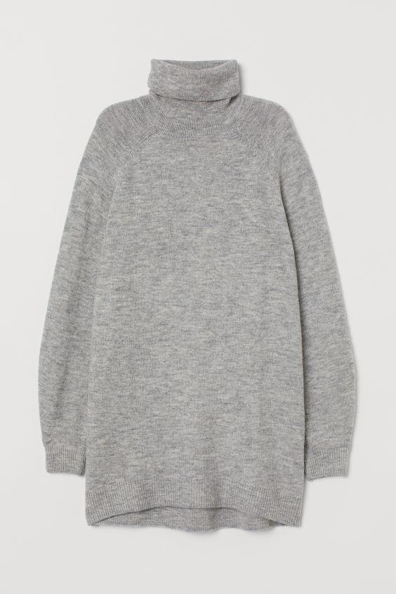 Długi sweter z golfem - Jasnoszary melanż - ONA   H&M PL 4