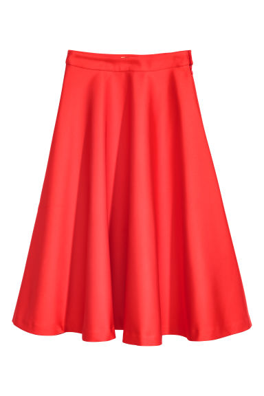 Satin skirt - Bright red - Ladies | H&M CN