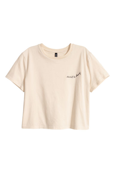 Cropped T-shirt - Beige - Ladies | H&M GB