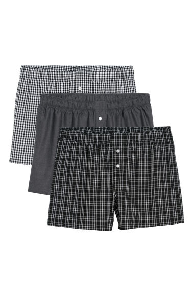 3-pack woven boxer shorts - Black/Checked - Men | H&M
