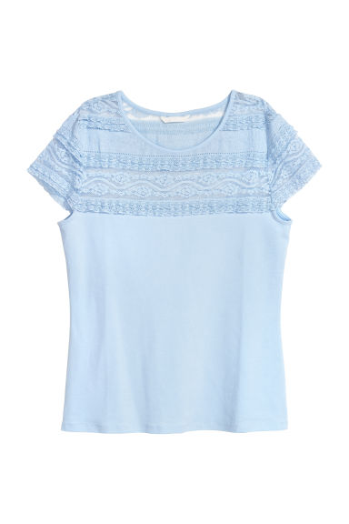 Lace top - Light blue - Ladies | H&M
