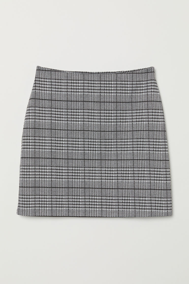 Short Jersey Skirt - Black/houndstooth-patterned -  | H&M US