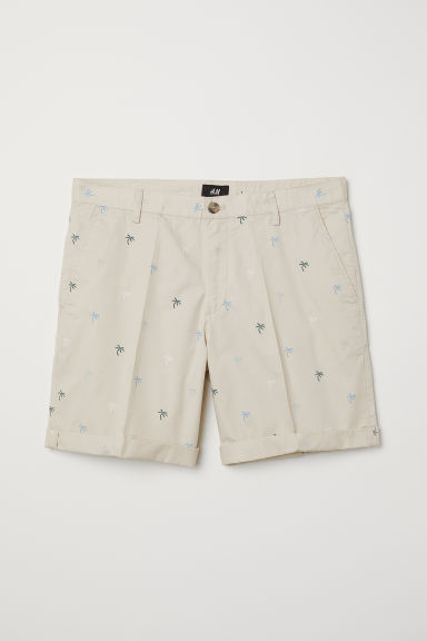 Chino shorts - Light beige/Palm trees - Men | H&M