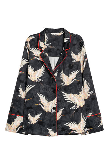 Wide satin shirt - Black/Birds - Ladies | H&M