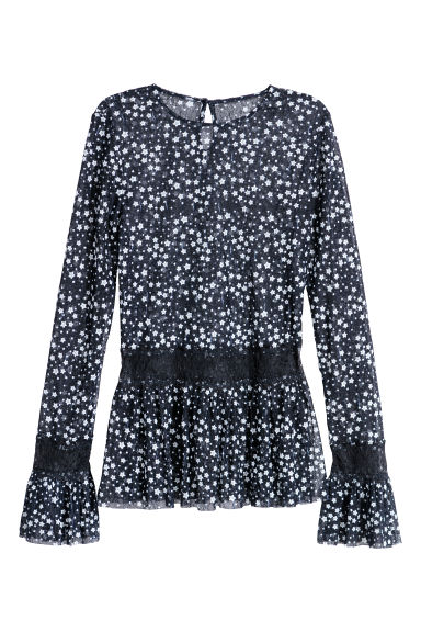 Flounced lace top - Dark blue/Stars - Ladies | H&M