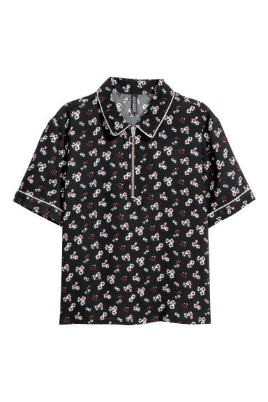 Short blouse - Black/Floral -  | H&M GB